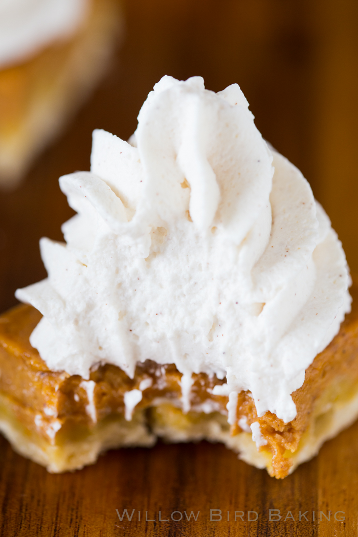 Pumpkin Pie Shortbread Bars With Maple Whipped Cream